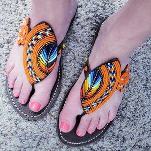 African Kenyan Masaai Sandals Beaded Sandals 7.5